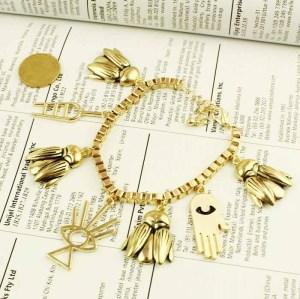 B-0341  European Style Vintage Gold Silver Metal Insect Eye Hand Ladder Bracelet