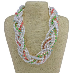 N-3772 Korea Style All-match Colorful Resin Gem Faux Pearl Multilayer Weave Necklace