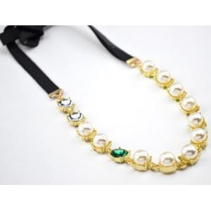 F-0138 Korea Style  Double Black Ribbon Chain Pearl Crystal Hair band