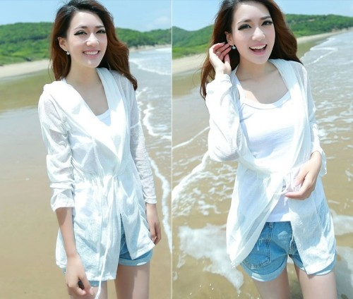 K-0003 women sweet nylon sun-protective clothing jakets ultra-thin transparent air conditioning dress cardigan 8Colors