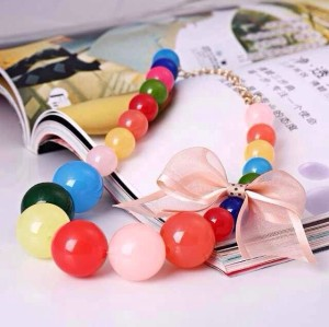 N-3769 Korea Style All-match Colorful Candy Beads Lace Bowknot Necklace