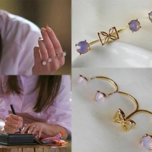 R-1118 Korea Style Gold Silver Plated Resin Gem Flower Bowkbot Three Fingers Ring