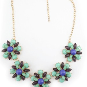 N-3774 European Style Gold Plated Alloy  Blue Purple Resin Gem Opal Flowers Necklace