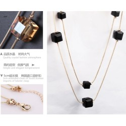 N-1618 New Fashion Style Gold Rope  Square bead Crystal Long Chain Necklace 6colors