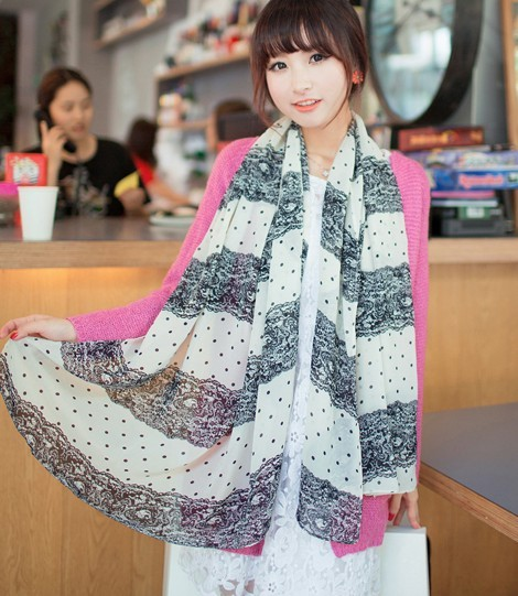 C-0066 New Coming Print Blace Lace Flower Spots Chiffon Scarves Shawl