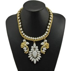 N-3780 European Style Gold Plated Alloy Resin Gem Snake Chain  Rose Flower Drop Pendant Necklace