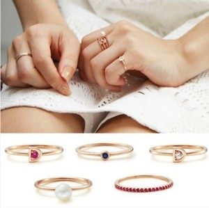 R-1119 Korea Style Gold Plated Letter D Rhinestone Pearl 5Pieces Rings Set