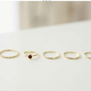 R-1120 Korea Style Gold Plated Red Rhinestone 5pcs Nail Ring Set For Women