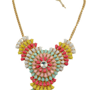 N-3784 European Style Gold Plated Alloy Colorful Resin Gem Flower Crystal Statement Necklace