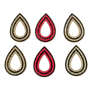E-3074 European Style Gold Plated Alloy  Hollow Out Enamel Beads PearlRhinestone Drop Stud Earring