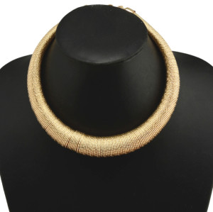 N-3785 European Style Gun Black Silver Gold Plated Alloy Spring Hoop Choker Necklace