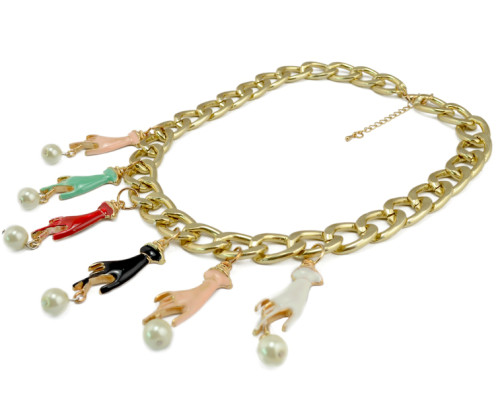 N-3786 European Style Gold Plated CCB Link Chain  Enamel Hands Pearl Tassels Necklace