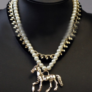 N-3787 European Style Gold Plated CCB Ribbon Pearl Double Chains Horse Pendant Necklace