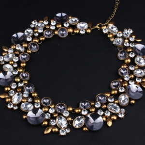 N-3790 European Style Vintage Golden Alloy Clear Grey Rhinestone Round Crystal Flower Choker Necklace