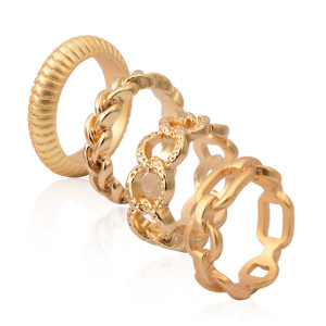 R-1123 Korea Style Gold Plated Alloy Hollow Out Chain Shape 4 Pieces Rings Set