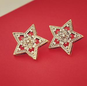 E-3076 Vintage style fashionable bronze alloy big brilliant rhinestone double stars stud earrings