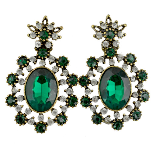 E-3075 Vintage style Alloy Rhinestone Crystal Flower Stud Earrings