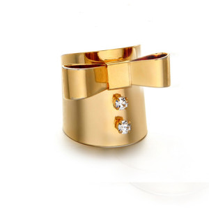 R-1124 Korea Style Gold Silver Plated Alloy  Rhinestone Bowknot Wide Ring