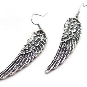 E-3081 Vintage style Silver Alloy Feather Shape Stud Earrings