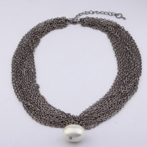 N-3795 European Style  Multilayer Gun Black Alloy Pearl Pendant Necklace
