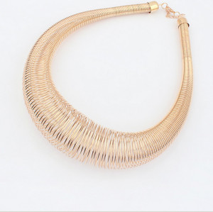 N-3794Punk Style Exaggerated Gold PLated Alloy Vintage coil spring Choker Necklace