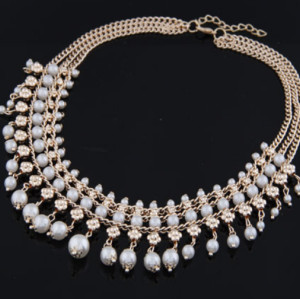 N-3793Korea Style Gold PLated Alloy Brilliant Multilayer Pearl tassels Choker Necklace