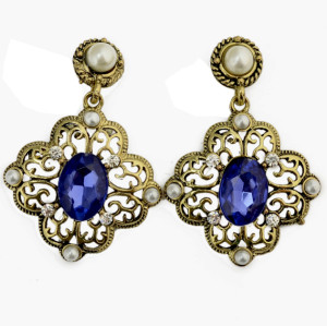E-3082 Vintage style Bronze Alloy Pearl Crystal Hollow Out Flower Dangle Earrings