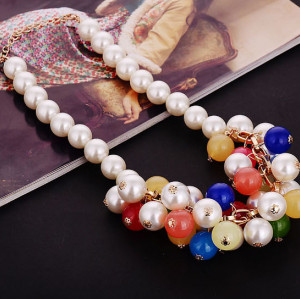 N-3765 Europe Style Gold Plated Alloy Link Chain Multicolor Pearl Chain Crystal Drop Tassels Pendant Necklace