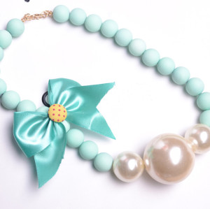 N-3811 Korea style  Beads Chain Silk Bowknot Big Pearl Choker Necklace