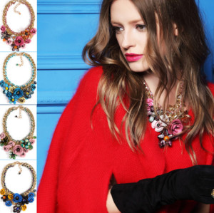 N-3809 Europe style gold plated woven handmade coarse chain luxury print metal flower colorful crystal beads exaggerated statement necklace