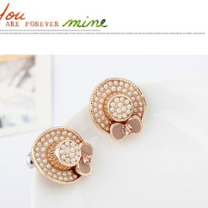 E-3085 Vintage style fashion gold pearl pink bow-knot cap hat stud earrings