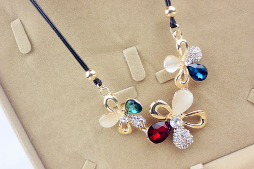 N-3808 Korea Style Bohemian Exaggerated Short Chain Opal Crystal Hollow Out Big Flowers choker necklace