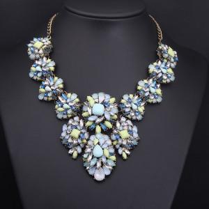 N-3806 Europe Style Bronze Alloy  Resin Gem Crystal Flower Choker Necklace