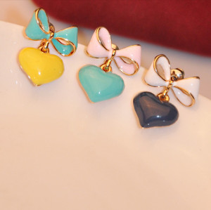 E-3083 Vintage style fashion gold plated bowknot heart candy color  dangle earrings