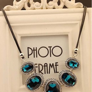 N-3804 Europe Style Leather Rope Chain Exaggerated Big Gem Crystal Choker Necklace