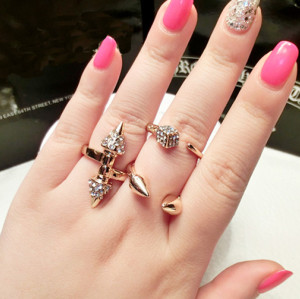 R-1125 Punk Style Silver gold Plated Alloy Rhinestone Rivets Ring 2 Colors #5
