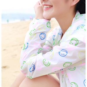 K-0007 Women Long Sleeve Candy Color Beach Smile Breathe freely Uv Sun-protective Clothing Coat Upper Garment