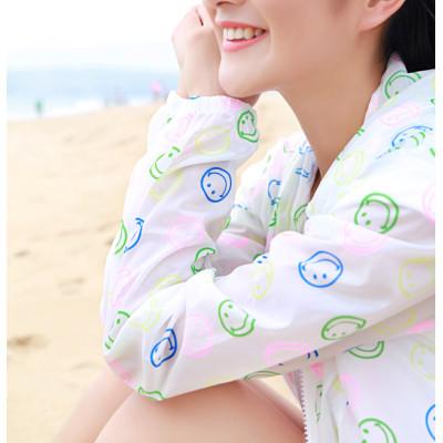 K-0007 Women Long Sleeve Candy Color Beach Smile Breathe freely Uv Sun-protective Clothing Coat Upper Garment