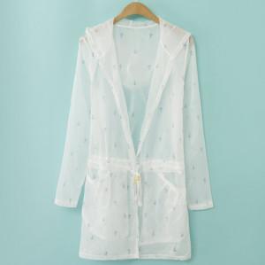K-0006 Women Long Sleeve Candy Color Anchor Breathe freely Uv Sun-protective Clothing Coat Upper Garment