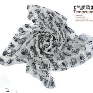 C-0067 New Coming Print White Black Crown Skull Chiffon Scarves Shawl