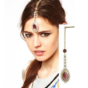 F-0144 European Style Gold Plated Rhinestone Pink Drop Crystal Flower Tassels Chain Hair Clip Hair Accessory