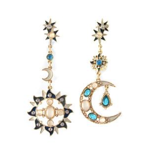 E-3089 Fashion style Gold Plated Alloy Rhinestone Cat's Eye Flower Sun Flower Dangle Earrings