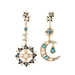 E-3089 Fashion style Gold Plated Alloy Rhinestone Cat's Eye Flower Sun Flower Dangle Earrings