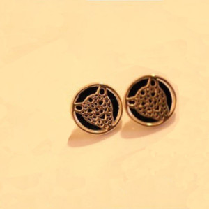 E-3088 Fashion style Gold Plated Alloy Hollow Out Leopard Head Button Ear Stud