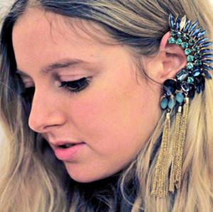 E-3090 Fashion style Gold Plated Alloy Crystal Feather Shape Long Tassels Ear Cuff Ear Stud