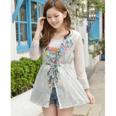 K-0004 Women Long Sleeve Candy Color Two Layer Breathe freely Uv Flower Sun-protective Clothing Coat Upper Garment
