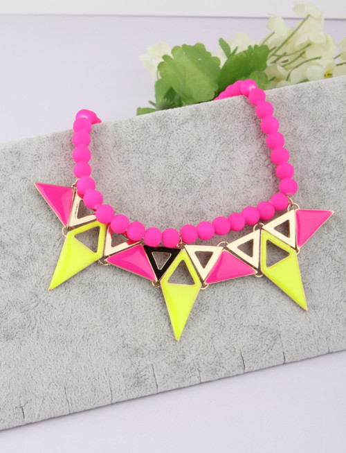 N-3814 Korea Style Candy Color Beads Chain Enamel Triangle Geometry Pendant Necklace 2Colors