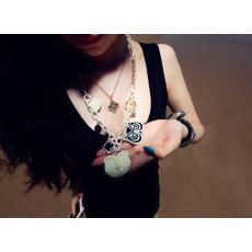 N-3827 Korea style gold metal white link chain multielement cream owls heart ball pendants short necklace