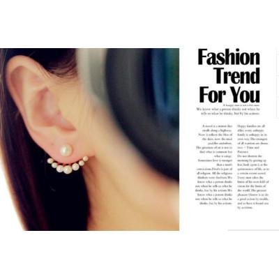 E-3087 Vintage style fashion gold plated pearl fan shaped  stud earrings