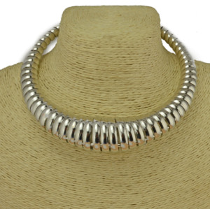 N-3833 European Style Silver Gold Plated Alloy Spring Hoop Choker Necklace